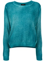 Avant Toi Overdyed Long Sleeve Sweater Women Cashmere L Blue