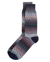 Bloomingdale's The Men's Store At Space Dye Stripe Dots Socks 100 Exclusive Light Gray