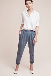 Anthropologie Bradley Chambray Trousers Dark Blue