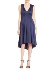 Badgley Mischka V Neck High Low Dress Navy