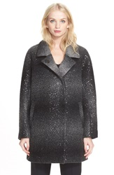 Milly 'Eldridge' Sequin Ombre Wool Car Coat Charcoal