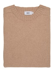 Mr.Start Cotton And Wool Crew Neck Tawny Owl Beige Neutral