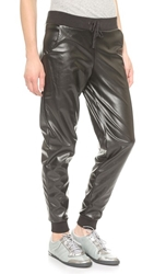 Plush Perforated Faux Leather Pants Black