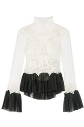 Jonathan Simkhai Tulle Trimmed Guipure Lace Top White