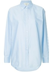 Ports 1961 Embroidered Side Stripe Shirt Blue