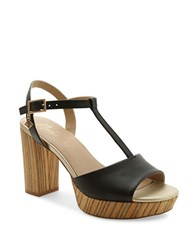 Nanette Lepore Venus Leather T Strap Sandals Black