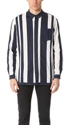 White Mountaineering Contrast Stripe Long Shirt Navy