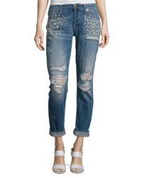 7 For All Mankind Josephina Distressed Boyfriend Jeans With Pearly Details Indigo