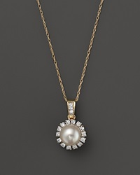 Bloomingdale's Cultured Freshwater Pearl And Diamond Pendant Necklace In 14K Yellow Gold 18 Gold White