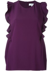 Carven Ruffled Sleeveless Blouse Pink And Purple