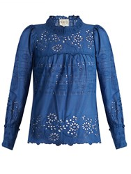 Sea Pleated Broderie Anglaise Cotton Top Blue