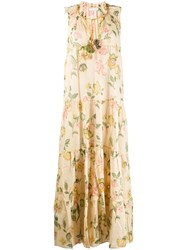 Anjuna Ludovica Floral Print Tiered Dress Neutrals