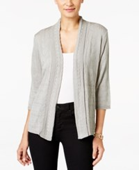 Ny Collection Petite Pointelle Cardigan Soft Grey