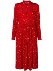 Chinti And Parker Floral Long Sleeve Midi Dress Red