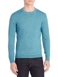 Isaia Long Sleeve Ribbed Wool Tee Turquoise