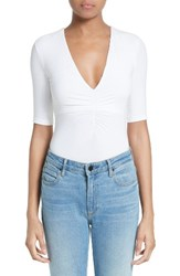 Alexander Wang Women's T By Ruched V Neck Tee White