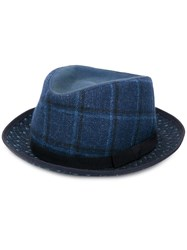 Etro Plaid Trilby Hat Blue