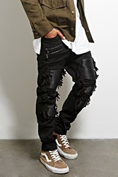 Forever 21 Victorious Distressed Zip Jeans Black Black
