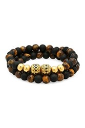 Steeltime Lava And Tiger's Eye Beaded Wrap Bracelet Metallic