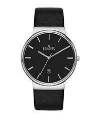 Skagen Mens Ancher Silvertone And Black Watch