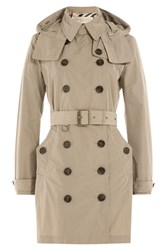 Burberry Brit Waterproof Trench Coat With Hood Beige