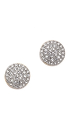 Michael Kors Pave Disc Post Earrings Clear Gold