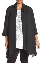 Plus Size Women's Melissa Mccarthy Seven7 Georgette Kimono Cover Up Black