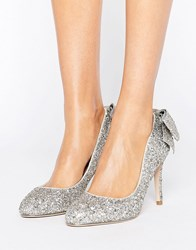 Miss Kg Coral Bow Trim Court Silver Glitter