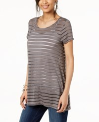 Inc International Concepts I.N.C. Illusion Striped Top Created For Macy's New Grey Knight