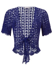 Jacques Vert Crochet Tie Front Cover Up Blue