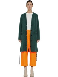 Maison Martin Margiela Oversize Wool Blend Knit Cardigan Green
