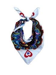 Mary Katrantzou Heart Flames Print Silk Twill Scarf Blue Multi