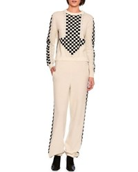 Stella Mccartney Oversized Arrow Checkerboard Sweater White Black White Black