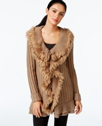 Alfani Faux Fur Ruffled Cardigan Only At Macy's Warm Taupe