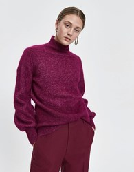 Just Female Theo Mohair Knit In Magenta Plum