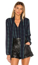 1.State 1. State Tie Neck Pintuck Sleek Plaid Blouse In Blue Green. Pine Grove