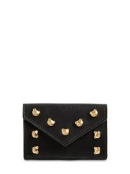 Moschino Teddy Stud Grained Leather Mini Wallet Black