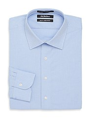 Saks Fifth Avenue Slim Fit Dobby Circle Cotton Dress Shirt Light Blue