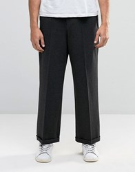 Asos Smart Wide Leg Trouser In Charcoal Jersey Charcoal Grey