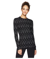 Smartwool Nts Mid 250 Pattern Crew Top Black Charcoal Heather Long Sleeve Pullover