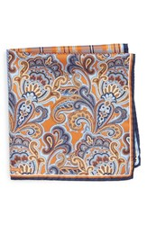 Nordstrom Men's Men's Shop 'Three Panel' Silk Pocket Square Orange