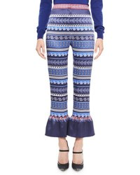Mary Katrantzou Printed Satin Ruffle Cuff Pants Blue Blue Pattern
