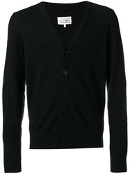 Maison Martin Margiela V Neck Buttoned Up Cardigan Calf Leather Wool S Black