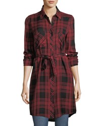 Dex Plaid Flannel Shirt Dress Red