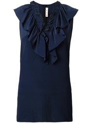 Marni Ruffle Neck Blouse Blue