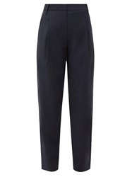 Tibi Pleated High Rise Crepe Trousers Navy