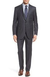 Peter Millar Men's Big And Tall Classic Fit Windowpane Wool Suit Charcoal