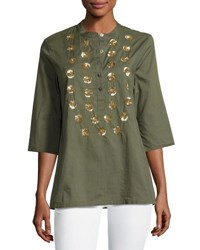 Figue Jasmine Sequin Embellished Tunic Top Green