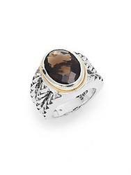 Effy 925 Smoky Quartz Sterling Silver And 18K Yellow Gold Ring Brown Silver