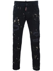 Dsquared2 Paint Splash Skinny Jeans Black